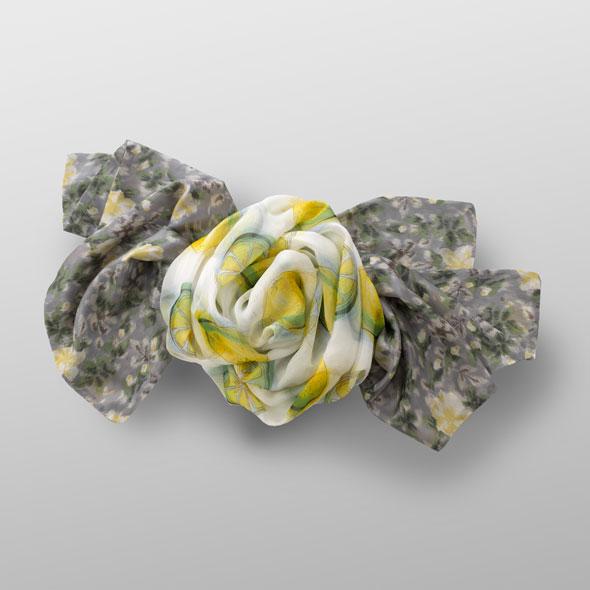 silk voile scarf LEMON