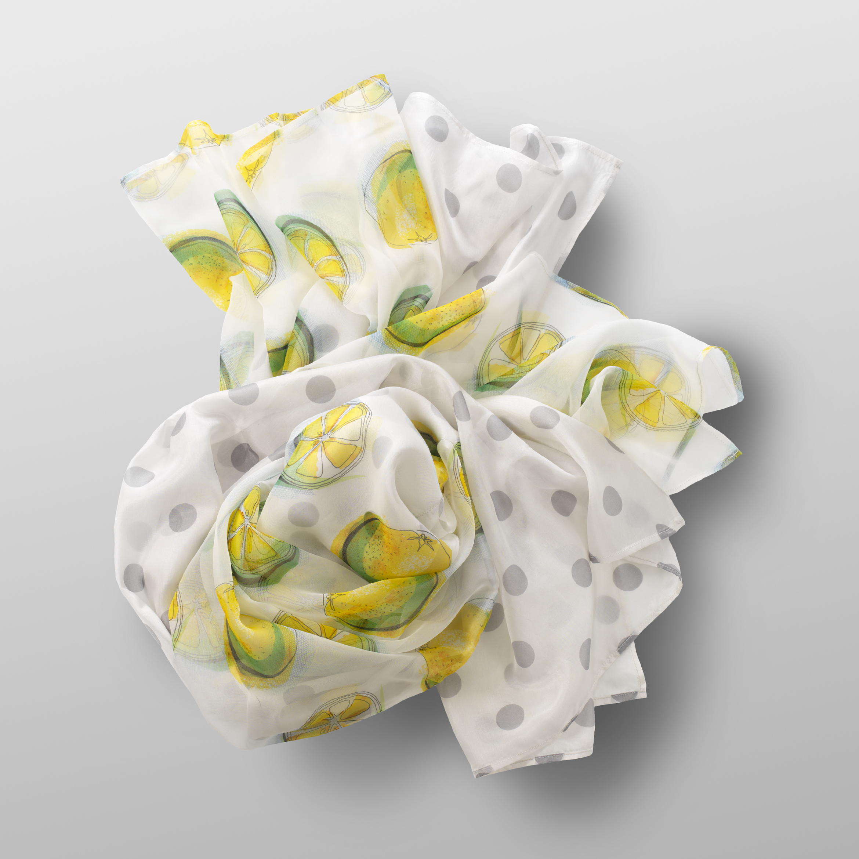 silk foulard LEMON-DOTS