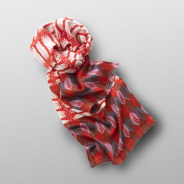 Silk scarf RED SNAKE