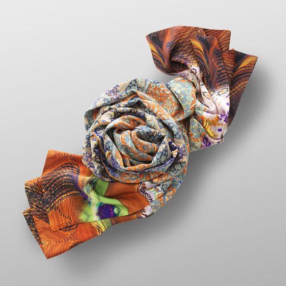 Silk satin scarf BYZANZ