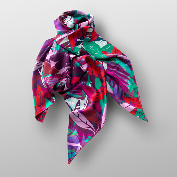 Silk satin scarf LEAF