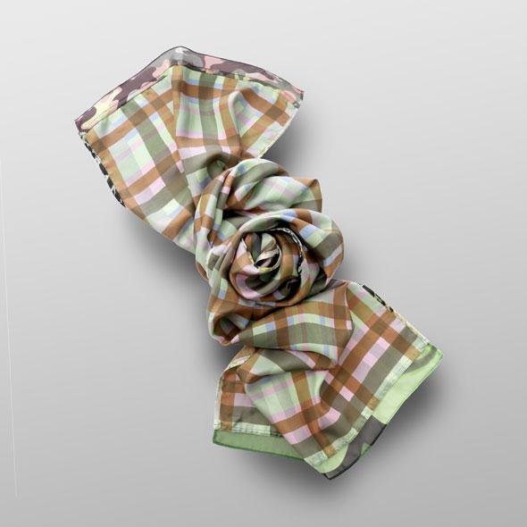Plaid scarf of silk-twill JACKIE
